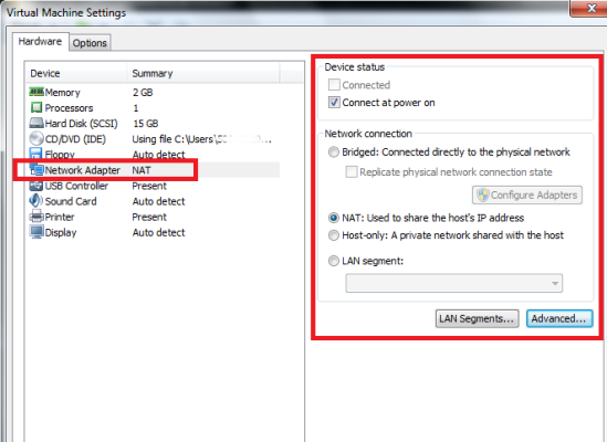 VMware networking configuration